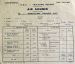 Document – Cobbetts report card from # 3 OTU in England.  He had a 5 week course in gunnery from a Lancaster.  Note that he only scored 3% hits air-to-air.  That was not unusual.  From here he was posted to a squadron.   Source: Library and Archives Canada via R. Whitehouse