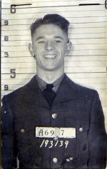 Photo of John Cobbett – This picture of John Cobbett was taken on his induction into the RCAF and was found in his paybook during a search of his records (Aug 08).  Cobbett was a member of F/L J. A. Allen's crew.  For addition information access Allen's pictures. Source: Library and Archives Canada vis R. Whitehouse
