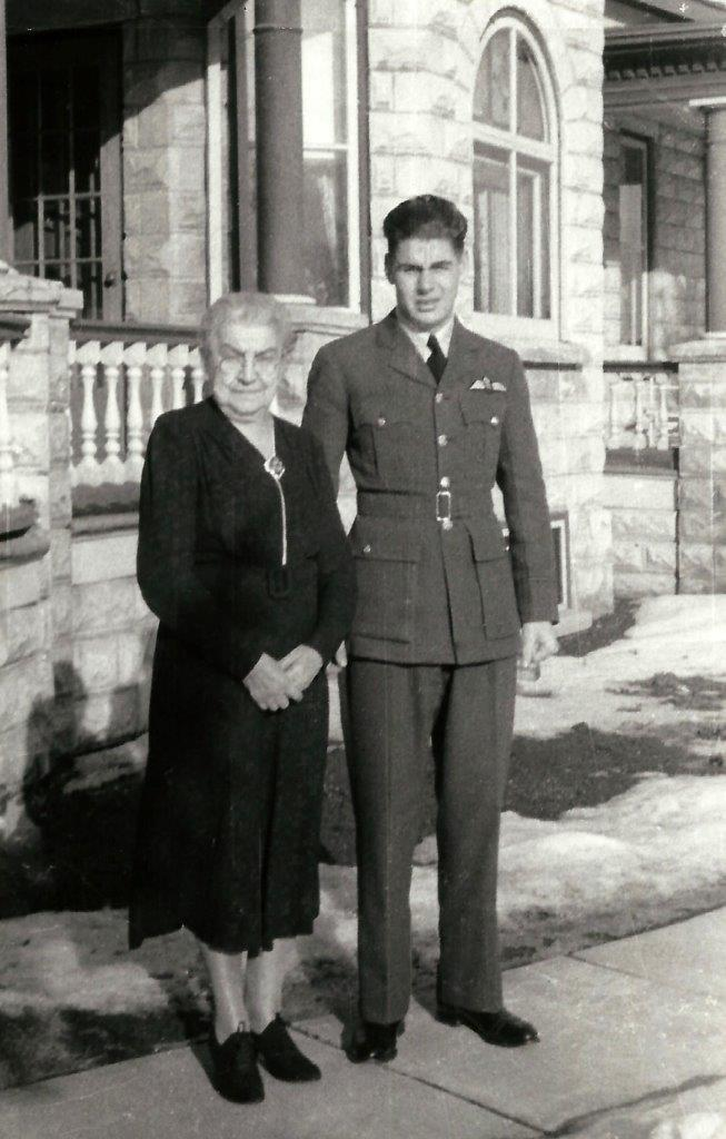 Photo of HARRY LYLE HEIMBECKER – Harry Lyle Heimbecker [1920 - 1944] with his paternal grandmother Rosina Ziegler Heimbecker.  Photograph was taken in Hanover, ON - probably in the spring of 1942.