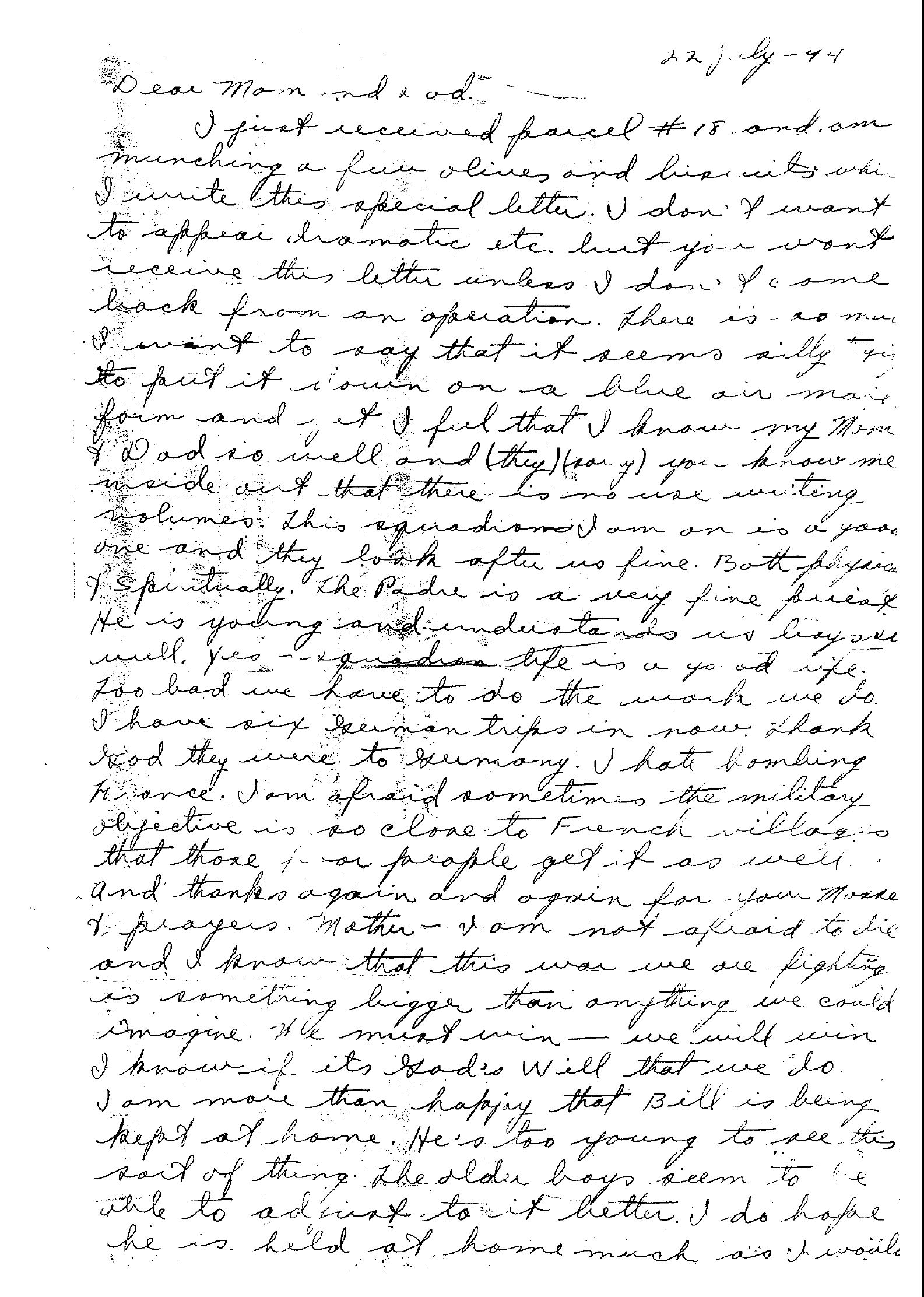 Letter (Page 1) – Paul's last letter to his family.