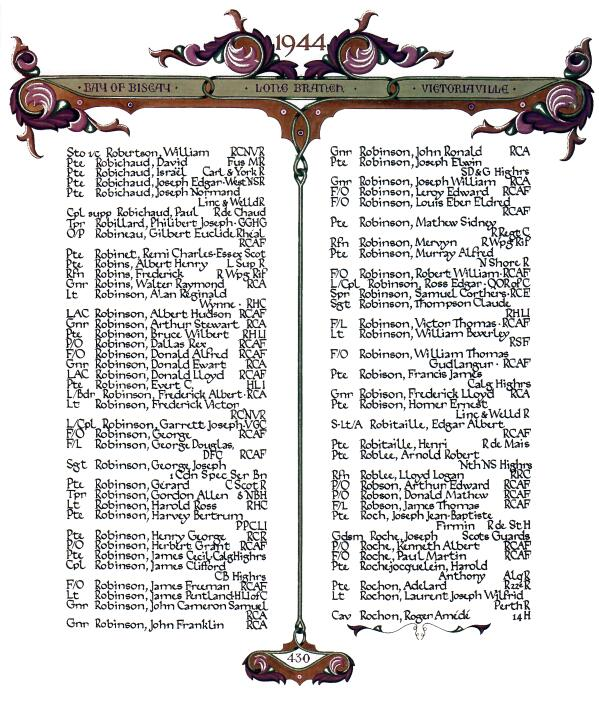 """Honour Roll – Paul's name on page 430 from """"The Book of Remembrance"""""""