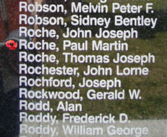 Memorial – Flying Officer Paul Martin Roche is also commemorated on the Bomber Command Memorial Wall in Nanton, AB … photo courtesy of Marg Liessens