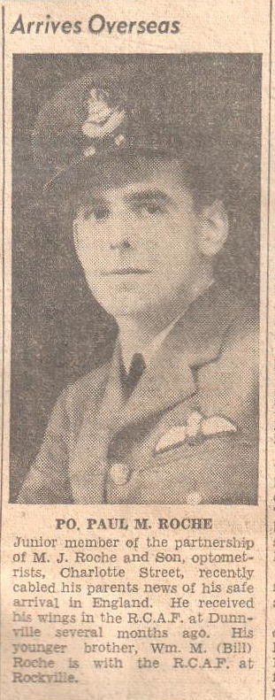 Newspaper Clipping – The Peterborough Examiner reporting on Paul's safe arrival in England.