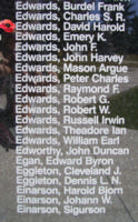 Memorial – Flight Lieutenant David Harold Edwards is also commemorated on the Bomber Command Memorial Wall in Nanton, AB … photo courtesy of Marg Liessens