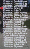Memorial – Flight Sergeant Emery Kenneth Edwards is also commemorated on the Bomber Command Memorial Wall in Nanton, AB … photo courtesy of Marg Liessens