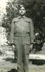 Photo of Donald Wellington Chippewa – On August 10 1944 2 rifle companies of the Algonquin,s were cut off and ambushed; by the time the terrible day was over, only 79 infantrymen were fit for duty. the rest were killed, wounded or missing. Among the dead was Don Chippewa. He is buried at Bretteville-sur- Laize Cemetery and honoured on the Wheatley Ontario Cenotaph.