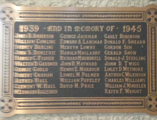Memorial – St Matthew's Anglican Church, Ottawa