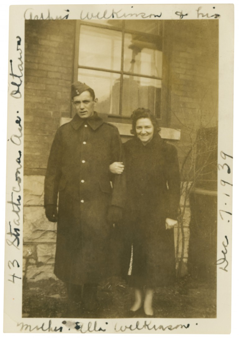 Group Photo – Arthur and his mother Alta Wellington, 43 Strathcona, Ottawa before he went to war in 1939. He was killed in 1944 in Normandy. She was the Silver Cross mother in 1975.