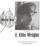Memorial Page – F. Ellis Wright is honoured on page 151 of the Gananoque Remembers booklet, published on January 31, 2005.