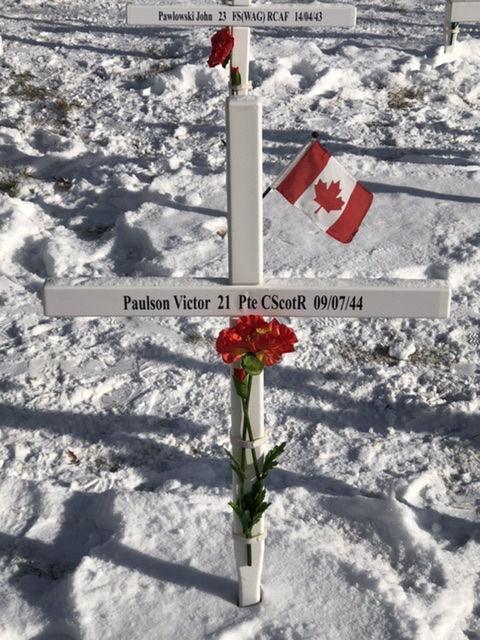 Memorial – Victor Paulson's memorial cross, as part of the Field of Crosses in Calgary, Alberta, 2019.