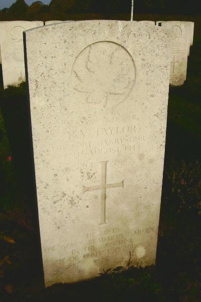 Grave Marker – Grave marker - Bayeux War Cemetery … photo courtesy of Marg Liessens