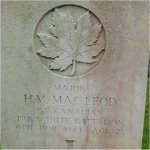 Gravemarker – Grave Marker of Major Hugh Murray MacLeod, 1st Canadian Parachute Battalion, located in Ranville, Normandy, France. Photo extracted from the 3rd Para Brigade WW II Re-Enactors website.