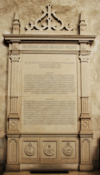 "Memorial Stele – This stone stele is located in the chapel at Trinity College in the University of Toronto. ""AS DYING AND BEHOLD WE LIVE. TO THE MEMORY OF THOSE MEMBERS OF THIS COLLEGE WHO GAVE THEIR LIVES IN THE TWO GREAT WARS."" The name of ""D.J. FARRELL"" is among those inscribed."