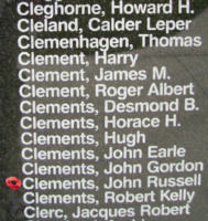 Memorial – Sergeant John Russell Clements is also commemorated on the Bomber Command Memorial Wall in Nanton, AB … photo courtesy of Marg Liessens