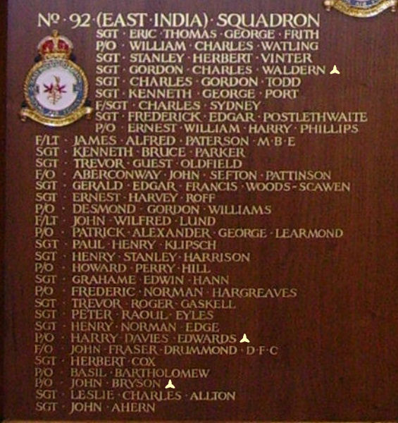 Inscription – Pilot Officer Harry Davies Edwards is also commemorated at St George's Royal Air Force Chapel of Remembrance - Biggin Hill … name on the panels that surround the Altar … Photo courtesy of Marg Liessens