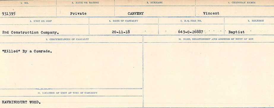 Circumstances of Death Registers – Source: Library and Archives Canada.  CIRCUMSTANCES OF DEATH REGISTERS, FIRST WORLD WAR Surnames:  Canavan to Caswell. Microform Sequence 18; Volume Number 31829_B016727. Reference RG150, 1992-93/314, 162.  Page 843 of 1004.    Private Carvery was shot and killed by Private Arthur Johnson (#931052).  Private Johnson was found guilty of murder and was sentenced to death.  The sentence was commuted to 15 years Penal Servitude by Field Marshall Sir Douglas Haig. The sentence was promulgated on December 23, 1918 and was to expire on December 14, 1933.
