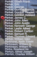 Memorial – Flying Officer James Courtland Parker is commemorated on the Bomber Command Memorial Wall in Nanton, AB … photo courtesy of Marg Liessens