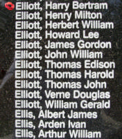 Memorial – Flying Officer Harry Bertram Elliott is also commemorated on the Bomber Command Memorial Wall in Nanton, AB … photo courtesy of Marg Liessens