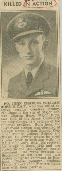 Press Clipping – Flying Officer John Charles William Hope obit Montreal Gazette Jan 17 1944 courtesy McGill University archives