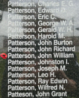 Memorial – Pilot Officer John William Lyle Patterson is also commemorated on the Bomber Command Memorial Wall in Nanton, AB … photo courtesy of Marg Liessens
