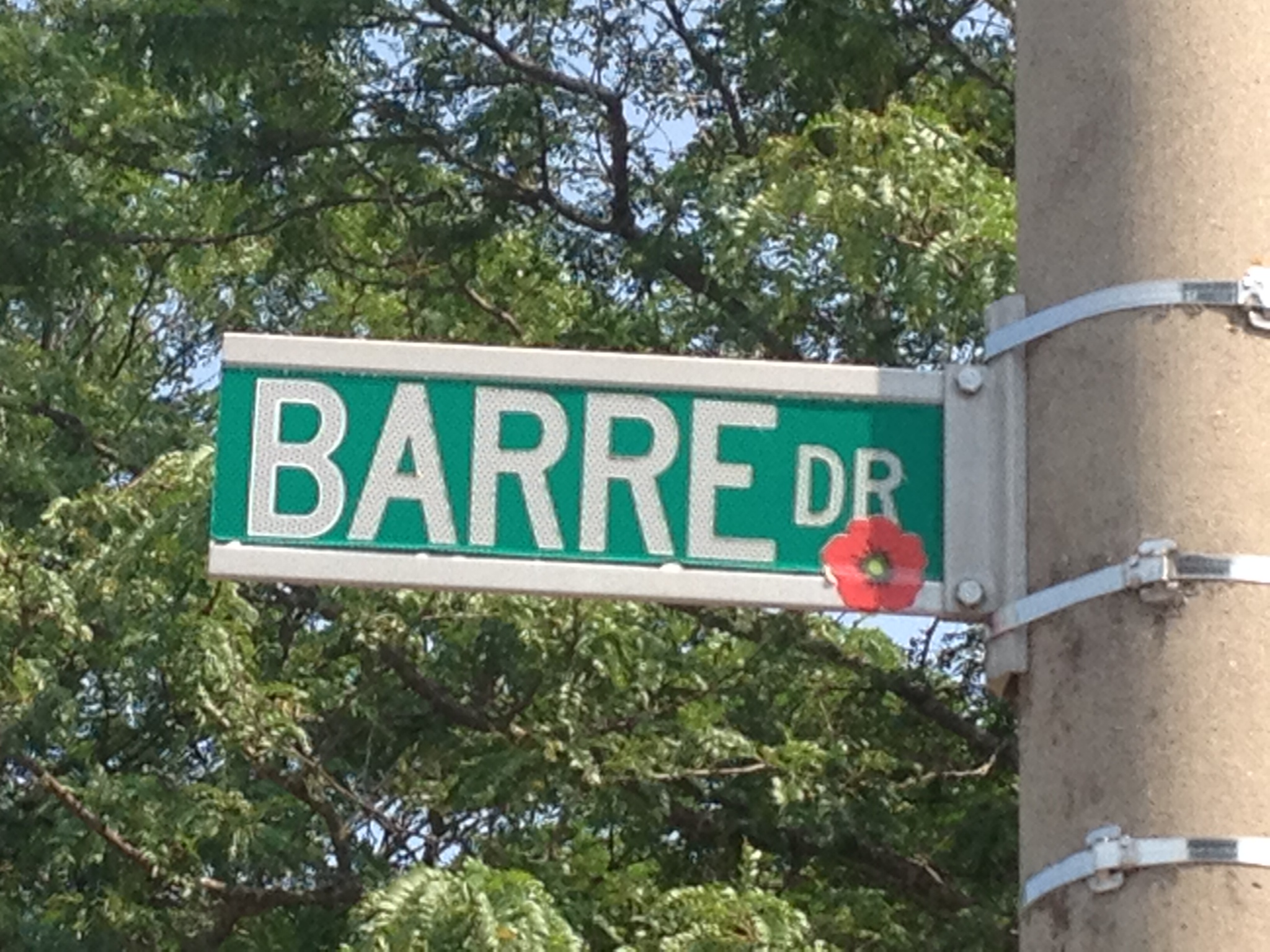 Street sign – Street named in honour of Sub-Lieutenant (E) James Gordon Barre with a poppy.