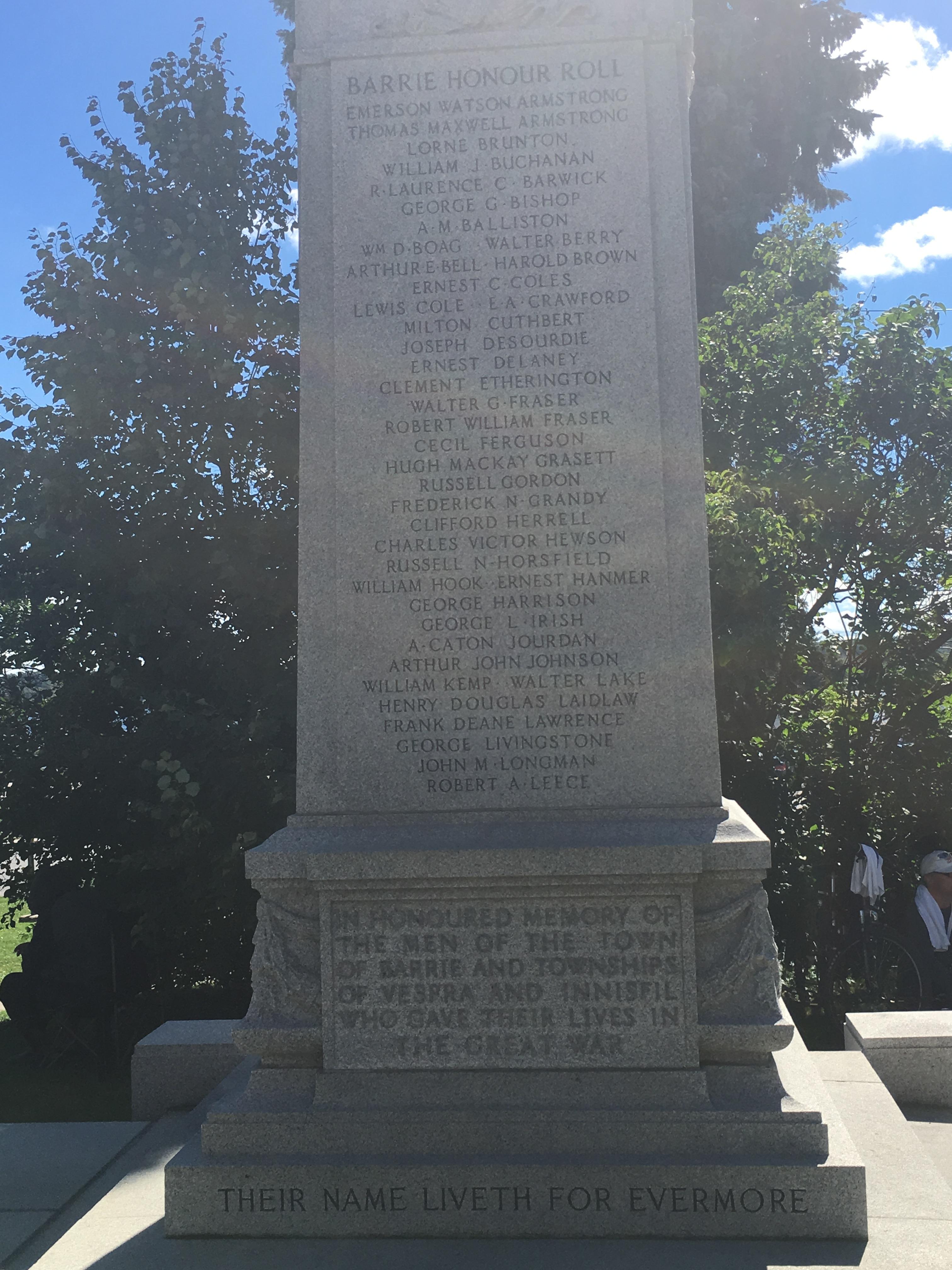 Cenotaph – Cenotaph Barrie, Ontario