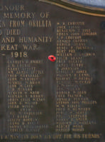 Cenotaph – Private Roger Elchies Grant is also commemorated on the WWI cenotaph in Orillia, ON … photo courtesy of Marg Liessens