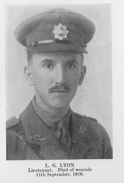 """Photo of Lawrence Lyon – From the book """"Letters From The Front 1914-1919"""" published by The Canadian Bank of Commerce."""
