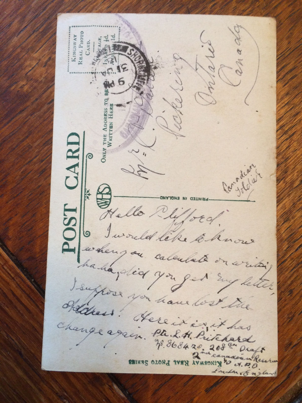 Post Card – Letter written to his friend Clifford in Pickering, Ont