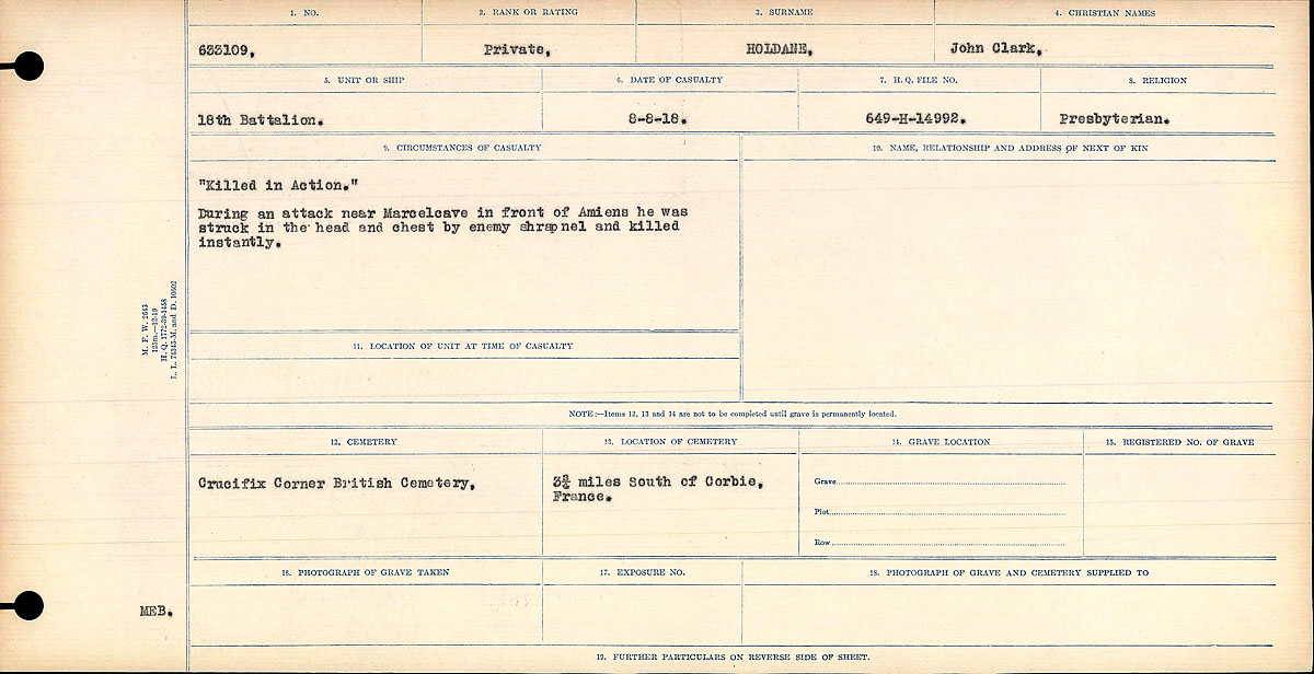 """Circumstances of Death – Circumstances of Death Register: """"Killed in Action"""" During an attack near Marcelcave in front of Amien he was struck in the head and chest by enemy shrapnel and killed instantly."""