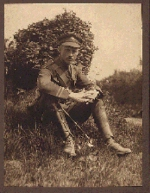 Photo of Archibald Franklin McKinlay – Lieut. A. F. McKinlay while on leave in England, possibly in the summer of 1916/1917.  It is possible that the photograph was taken by his older brother, Major James Murray McKinlay, who had also enlisted in the Canadian Army, but fortunately survived the war to return home to his beloved country.