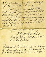 Letter, Page 3 – Letter of Condolence to Mrs. McKinlay (Frank's mother), side 3