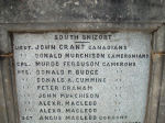 Inscription – Memorial bearing the name of Lieutenant Grant, located in Somerled Square, Portree, Isle of Skye, Scotland