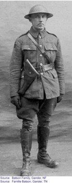 """Photo de Arthur Richard Batson – """"Arthur vêtu de son uniforme d'Infanterie Canadienne"""""""