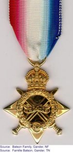 1914-1915 Star – 1914-1915 Star donated by the Batson family of Gander, Newfoundland.