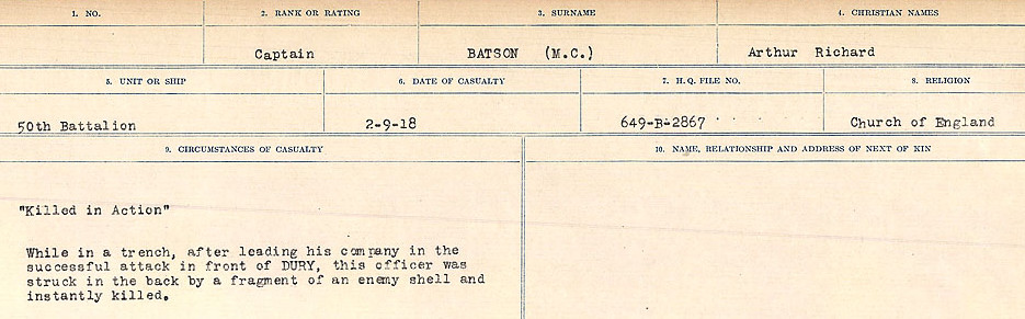 Circumstances of Death Registers – Source: Library and Archives Canada.  CIRCUMSTANCES OF DEATH REGISTERS, FIRST WORLD WAR Surnames:  Bark to Bazinet. Mircoform Sequence 6; Volume Number 31829_B016716. Reference RG150, 1992-93/314, 150.  Page 887 of 1058.