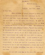 """Letter from a friend – Text of letter: Beaufort,Waltham Abbey,Kasex, England, Nov 25th. 1918. My Dear Sir,  With feelings of great distress I write you in condolence of the loss you have sustained in the death of your son, Capt A.R.Batson. Your son has made his home with us when on leave from France. We last saw him on the day he received his decorations from our King at Buckingham Palace at the end of July. Our letters to him have just been returned marked """"Killed in action"""". On receiving the end news I went into London to the Canadian Record Office to see if I could obain any further information, but beyond the fact that he fell on Sep 2nd I learned nothing more. I have written to the Captain of his Batt. in France but have no additional information. I shall not fail in enquires, and as I am Chaplain to one of our home Hospitals I shall live in the daily hope of hearing something from some of the men of his Batt. We met with your son in the year 1915 and have seen much of him since then. His letters were always an inspiration to me, and conversation with him never drifted into anything but of an elevating character. He is the finest type of man I have come in contact with during the whole period of war. And he was, above all, a true Christian.  If there is any consolation for you in your great loss it must be to know that he did his duty with the leanest motives, and did it well; also that his personal example was such that all men in contact with him were all the better men as a result of such example.  He left a small parcel with us with the request that should anything happen to him we would forward it to you. You will see, on its arrival, that he addressed it himself leaving it simply to be posted by us. I have just posted it so you should receive it by the same mail as this letter.  We grieve over his loss as though he were one of our own.  Yours very sincerely, Robi Hindle"""
