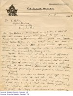 Letter of Condolence – Text of a letter of condolence to the Batson family: Dear Mrs. Batson - It is with a sad heart that I offer the sincere sympathies of all the officers and men of the 20th Battalion in losing your son, Captain Arthur Batson. MC. Your son was killed during our recent advance on September 2nd. He and another of our officers were consulting together when a shell landed between them instantly killing both. Captain Batson was not only a most efficient officer, who had rendered valuable service to the battalion on numerous occasions, but as good upright type of manhood your son was a shining example. He was loved and admired by all the officers and men and personally I was proud to claim him as a friend. Naturally, his loss is keenly felt by all who knew him as well. He had been thru so many rough battle, with the 6th and had always came out safe and sound that the news of his death was in a blow to us all. No doubt, Col. Page, our commanding officer...