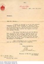 Lettre du Bureau du Ministre – Lettre du Bureau du Ministre de la milice et la défence, á Ottawa