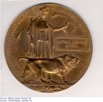 """Memorial plaque – """"Memorial plaque sent to Arthur's parents after his death in the First  World War."""""""