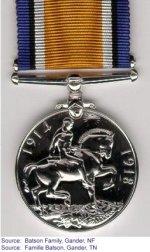 Médaille de Guerre Britannique – Médaille de Guerre Britannique contribuée par Doug Batson de Gander, Terre-Neuve.