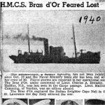 Press Clipping – newspaper clipping from a Montreal, Quebec newspaper would have been the first information released to the public about the suspected loss of HMCS Bras d'Or. The four men whose photos are shown -- Lieutenant (Engineering) Malcolm Cumming, age 45; Telegraphist Ib Korning, age 19; Able Seaman Joseph Emile Richard Pelletier, age 33; and Ordinary Signalman John Joseph Stasin, age 20 -- all came from the Montreal area. Bras d'Or's commanding officer, Lieutenant Charles A. Hornsby came from Halifax, Nova Scotia