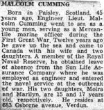 Press Clipping – Obituary for Malcolm Cumming.