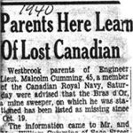 Press Clipping – Report of the lost ship in the Westbrooke, Maine newspaper.