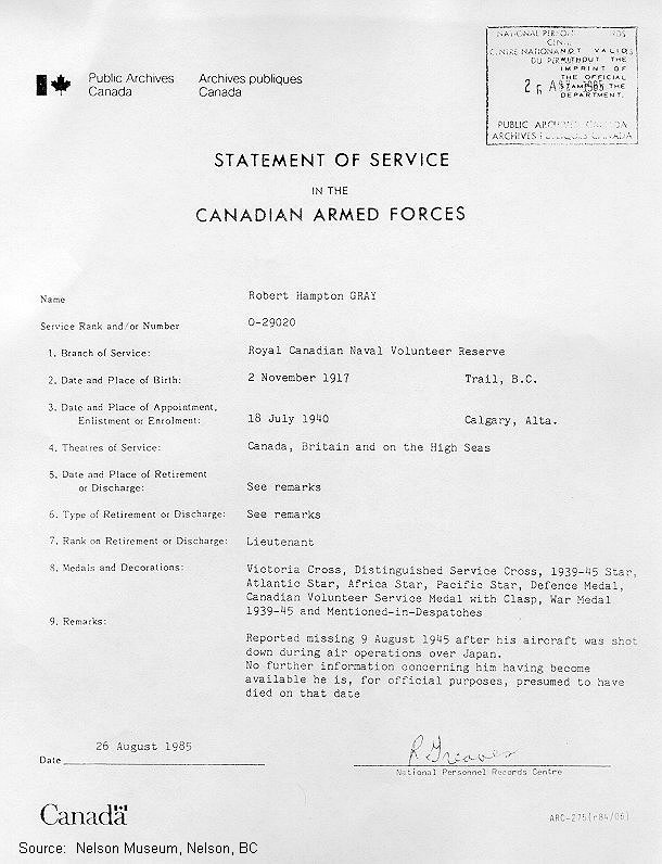 Statement of Service
