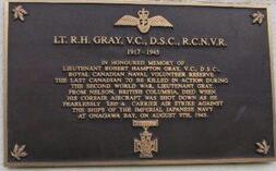 Memorial Plaque – Lt Robert Hampton Gray plaque, Nelson, British Columbia