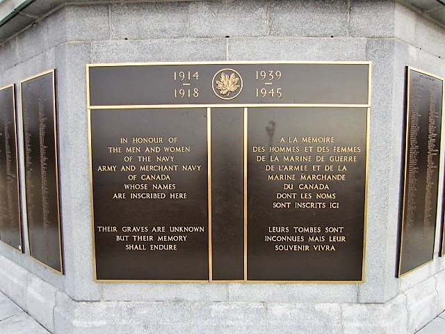Dedication Panel – The dedication panel on the Halifax Memorial at Point Pleasant in Halifax, Nova Scotia, Canada, on which Robert Hampton Gray's name is inscribed.