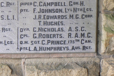 Memorial – War Memorial panel at gate of St.Mary's Parish Church, Ruabon, North Wales including name of Charles Prince CEF