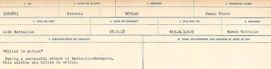 Circumstances of Death Registers – Source: Library and Archives Canada.  CIRCUMSTANCES OF DEATH REGISTERS FIRST WORLD WAR Surnames: Border to Boys. Mircoform Sequence 12; Volume Number 131829_B016721; Reference RG150, 1992-93/314, 156 Page 877 of 934.