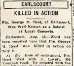 Newspaper clipping – Pte. George Henry Reed was born at Hampton Hill, Middlesex, England.   He enlisted in May 1915 with the 39th Battalion C.E.F. at Lindsay, Ontario.